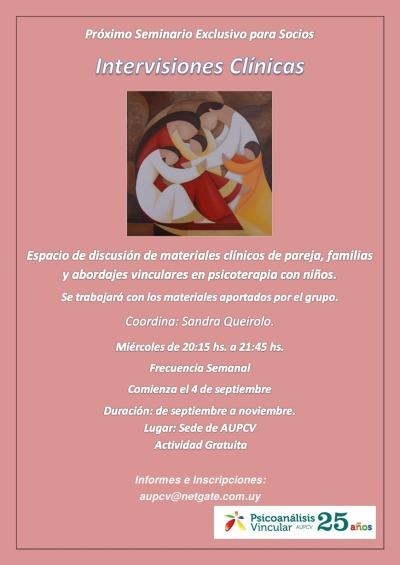 Seminario Exclusivo para Socios. Imtervensiones Clínicas.